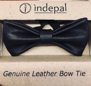 indepal leather Flannery Leather Bow Tie Black