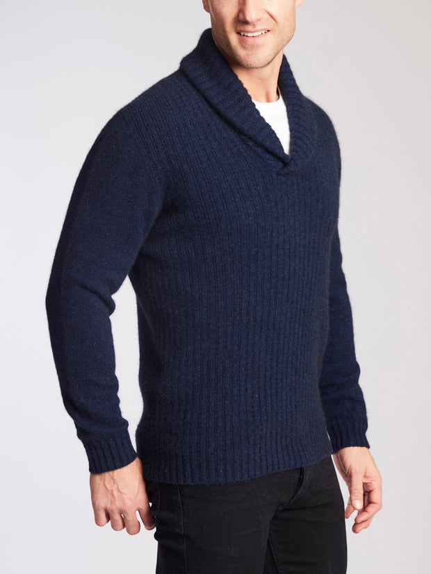 voss store Avalon merino snug merino wool merricks shawl neck jumper navy military