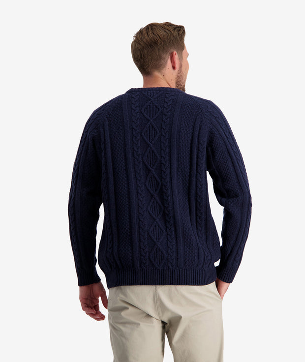 SWANNDRI BACK BEACH CABLE CREW NECK KNIT