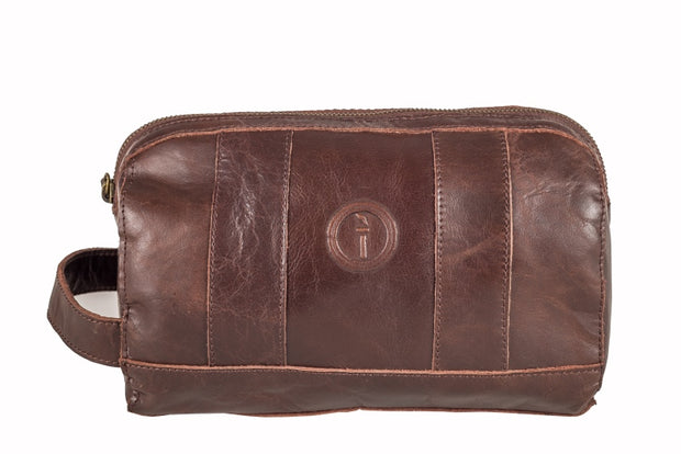 indepal Watson leather toilet bag brown