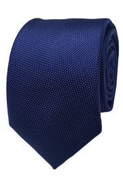 Abelard plain silk formal tie navy
