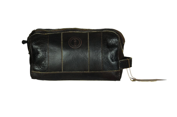 indepal Watson leather toilet bag black