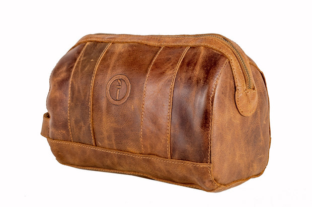 indepal Watson leather toilet bag dusty antique