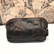 indepal Watson leather toilet bag vintage brown