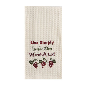 """Live Simply, Laugh Often, Wine A Lot"" Towel"