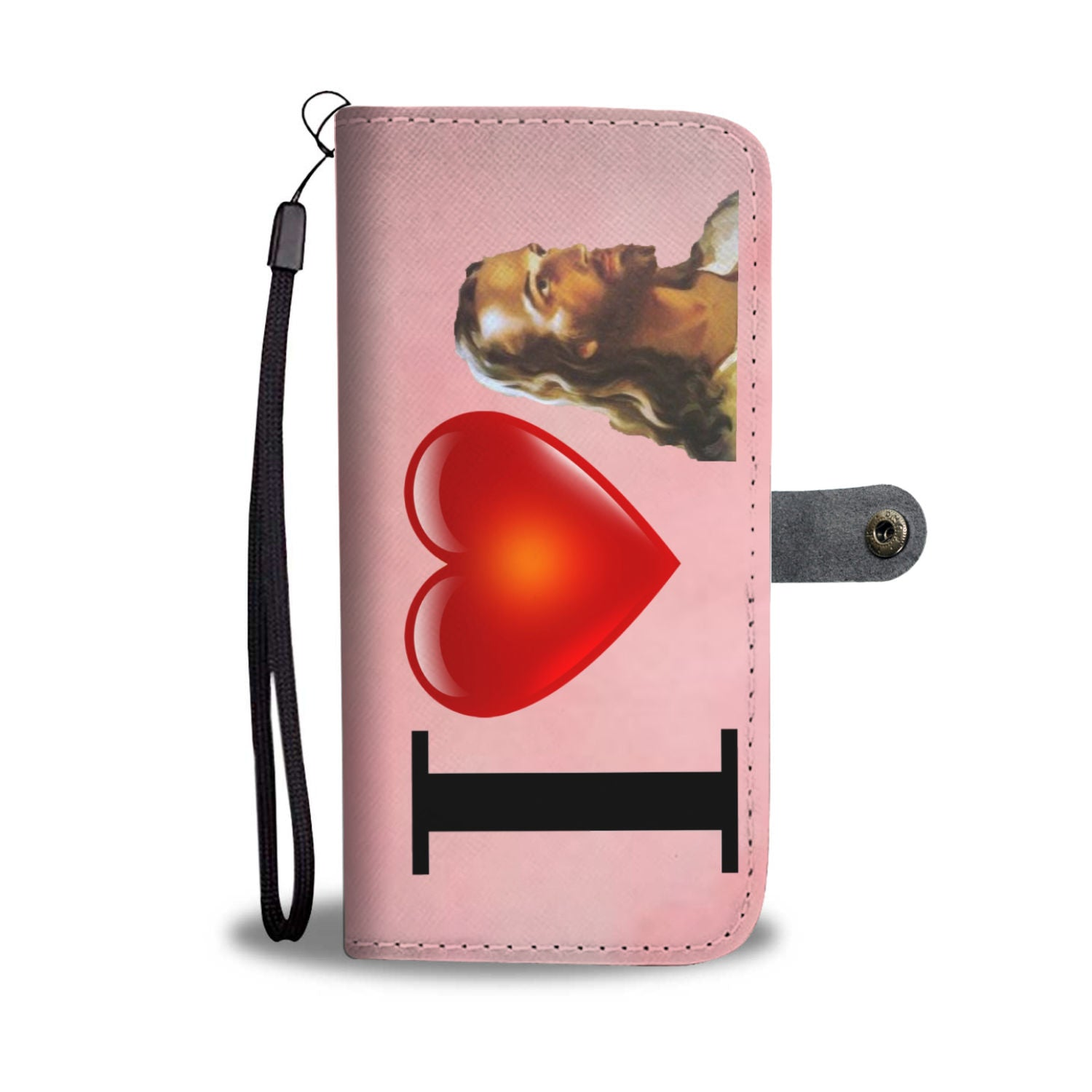 I Love Jesus Wallet Phone Case (Pink)