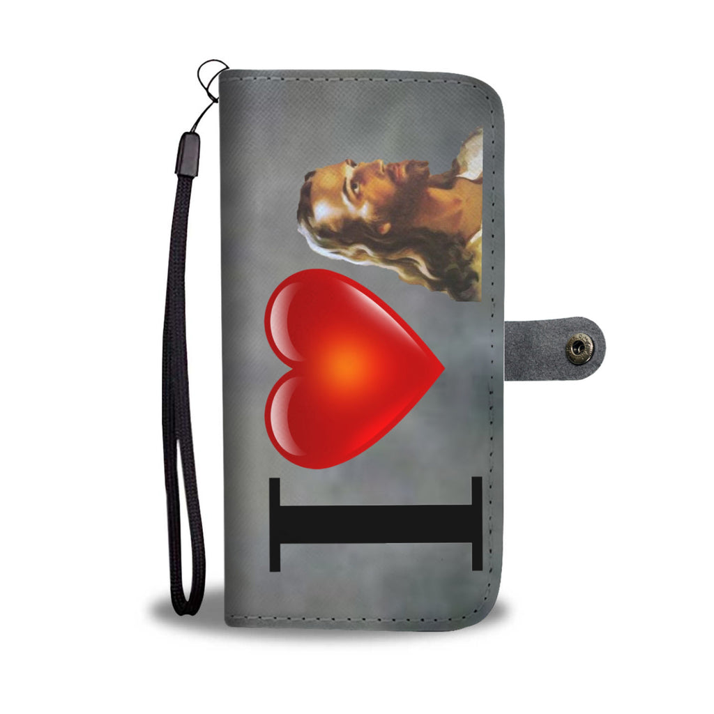 I Love Jesus Wallet Phone Case ( charcoal)