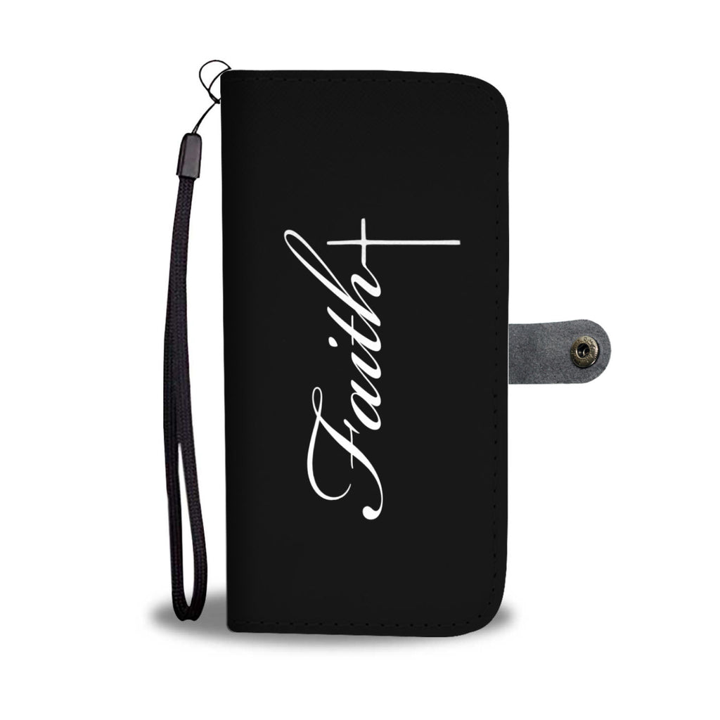 Faith Cross (White in Black) Wallet Phone Case