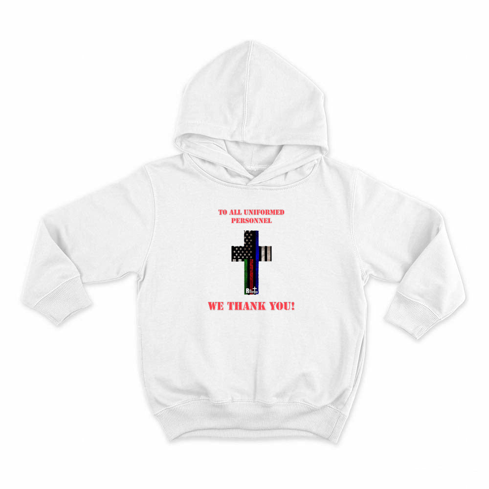 Hero Flag Cross Kids Hoodie (Red or White with black logo)