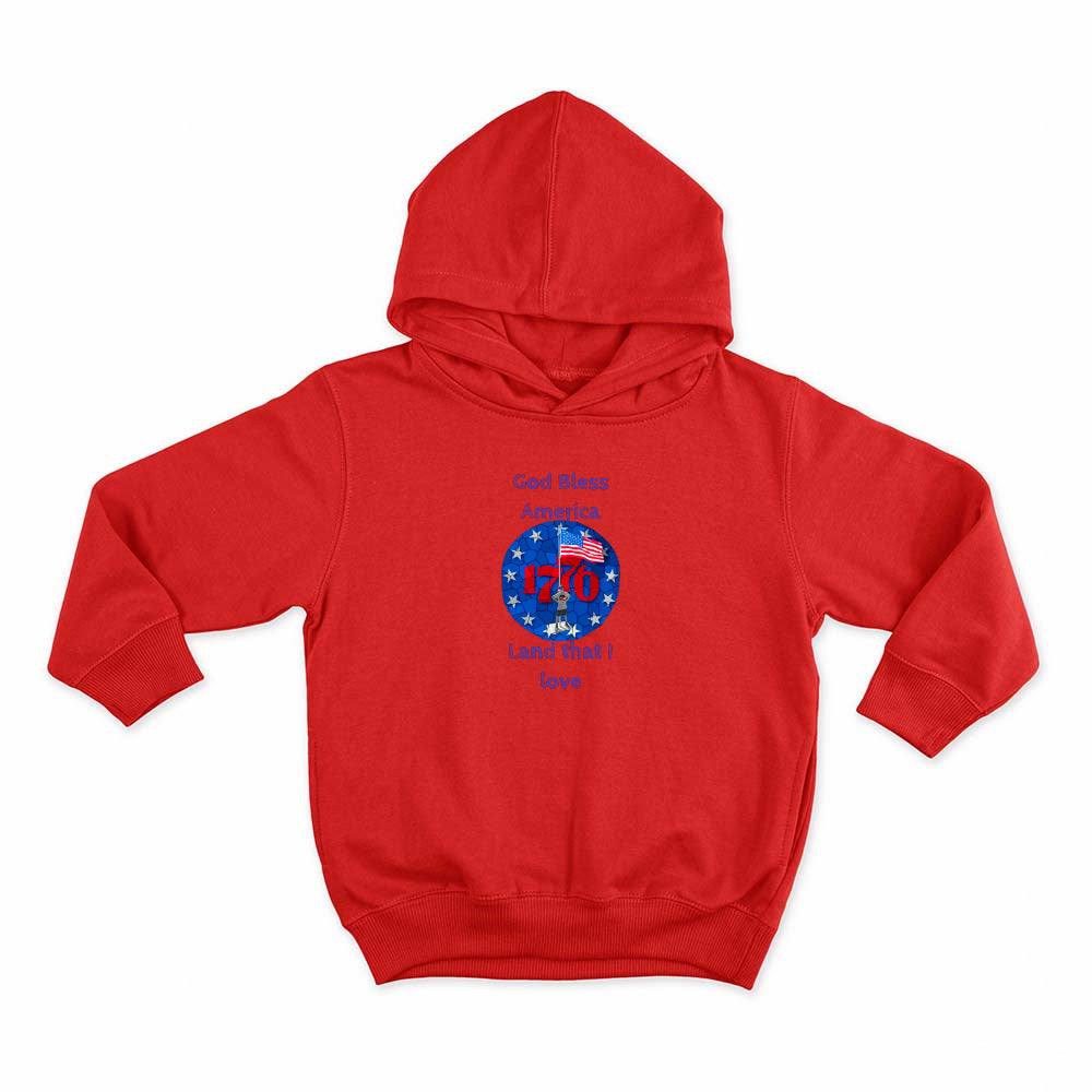 I'm an American Boy Kids Hoodie (blue print; see all colors)