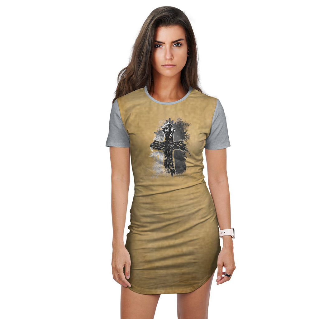 Thorn Cross T-shirt Dress (Gold)