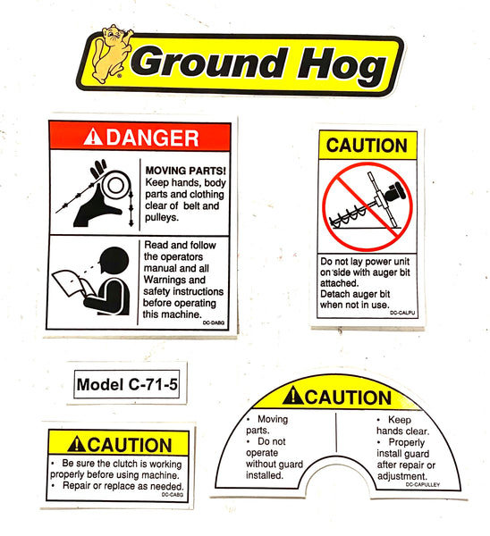 DS-C-71 - Decal Set for Ground Hog Inc C-71-5 Auger