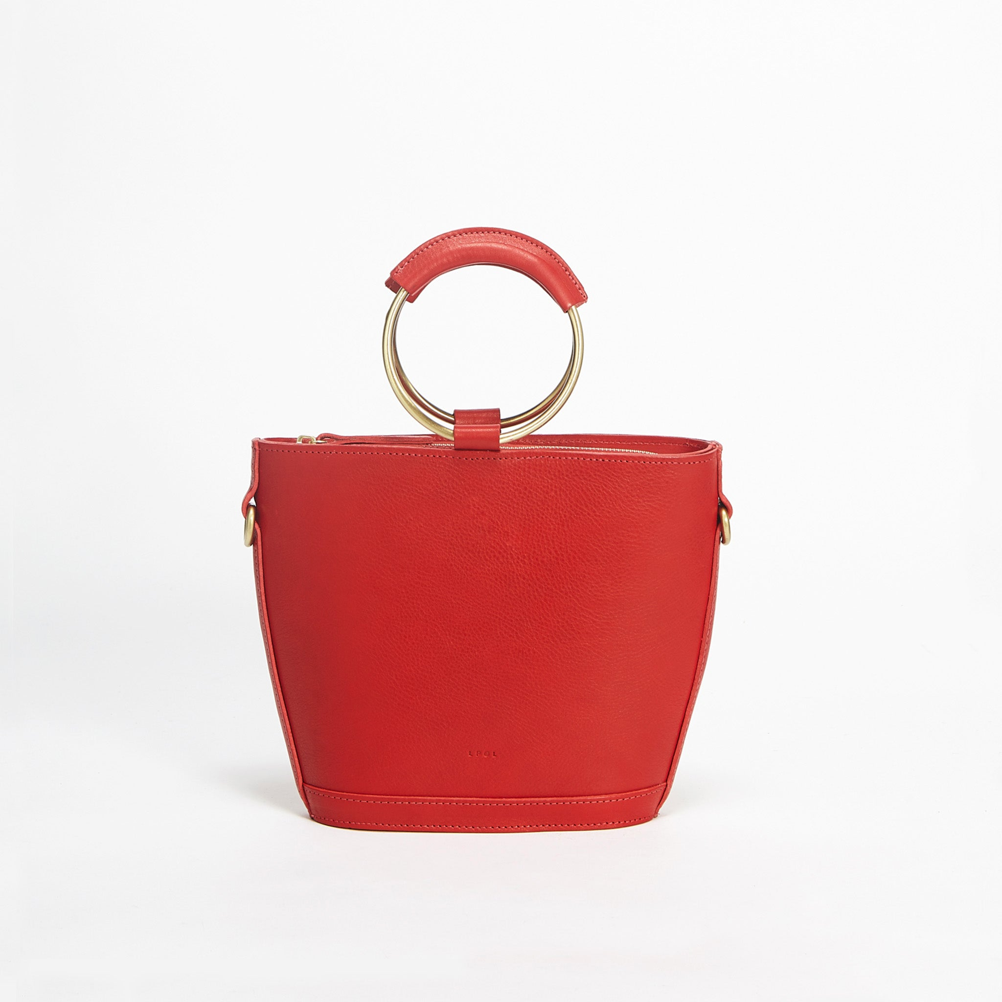Mini Elwin Hoop Handbag Red