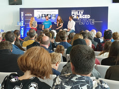 Non Plastic Beach Co-founder Gareth in Plastic Pollution Panel Discussion at Fully Charged Live hosted by Maddie Moate