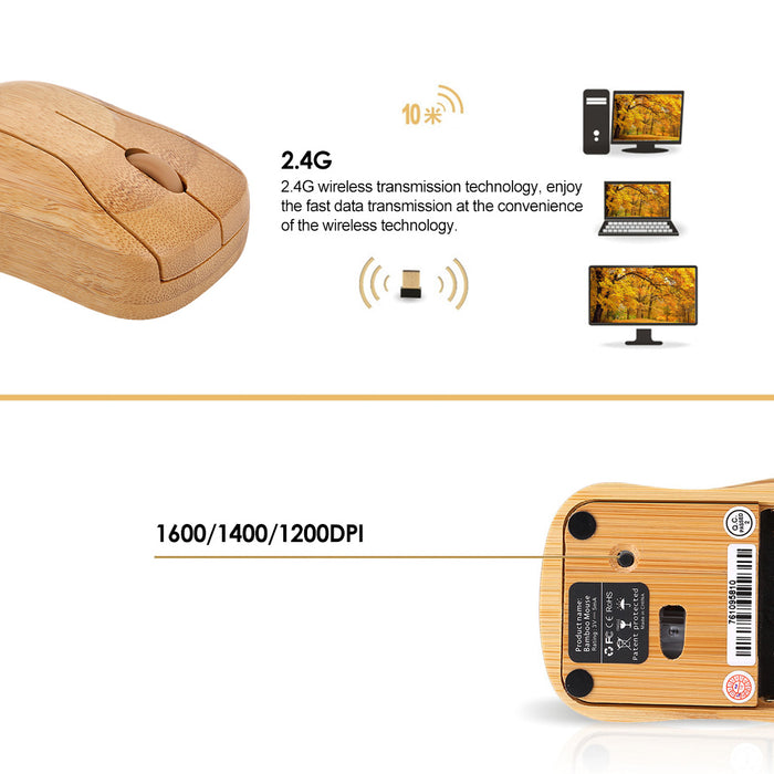 Natural Computer Mouse: Real Wood, Wireless, Scroll Wheel