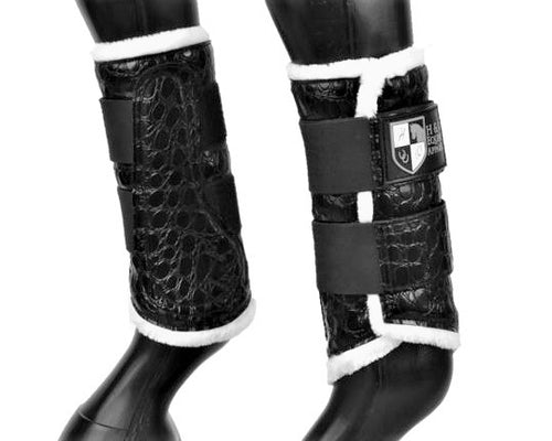Black Croc Brushing Boots