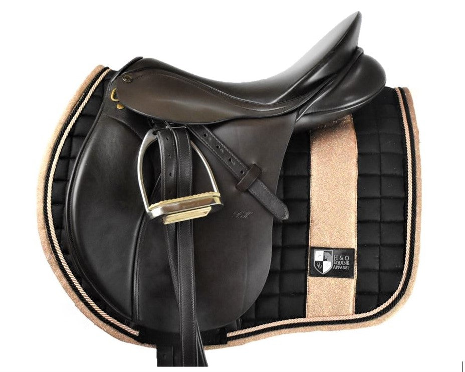 Black and Rose Gold Forward Cut Saddle Pad