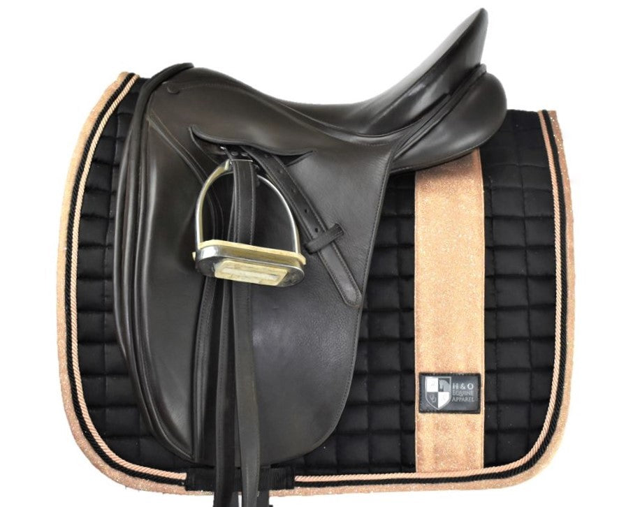Black and Rose Gold Dressage Cut Saddle Pad