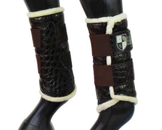 Brown Croc Brushing Boots
