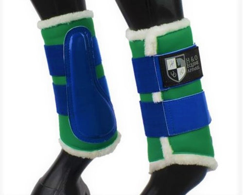 Green & Royal Blue Brushing Boots
