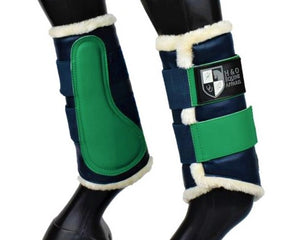 Navy & Green Brushing Boots
