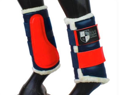 Navy & Red Brushing Boots