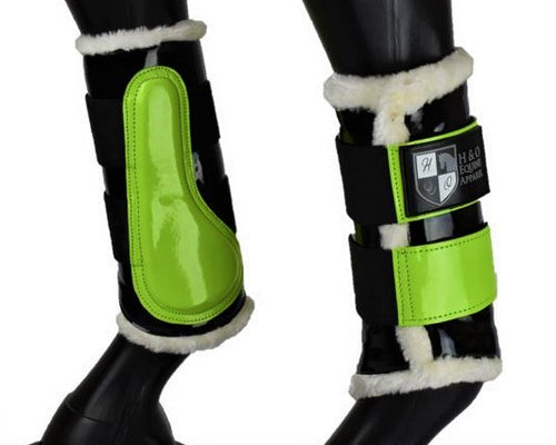 Black & Lime Green Brushing Boots