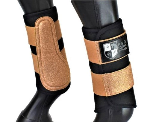 Black and Rose Gold 'Air Vent' Brushing Boots