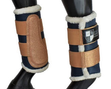 Load image into Gallery viewer, Navy and Rose Gold Brushing Boots