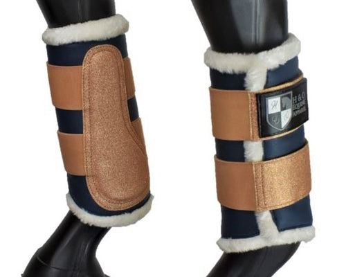 Navy and Rose Gold Brushing Boots