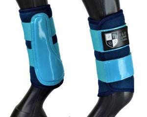"Navy and Aqua ""Air Vent"" Brushing Boots"