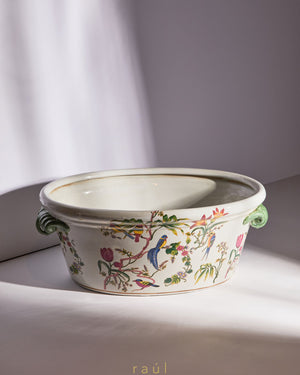 Oval Floral Pot with Handle