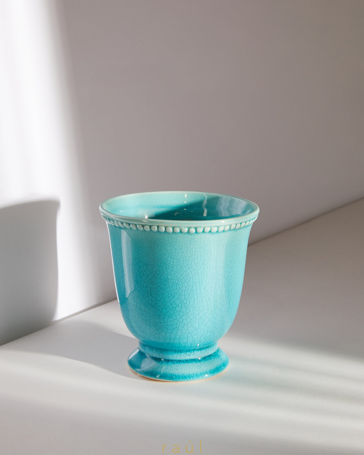 Robin's Egg Footed Vase Small