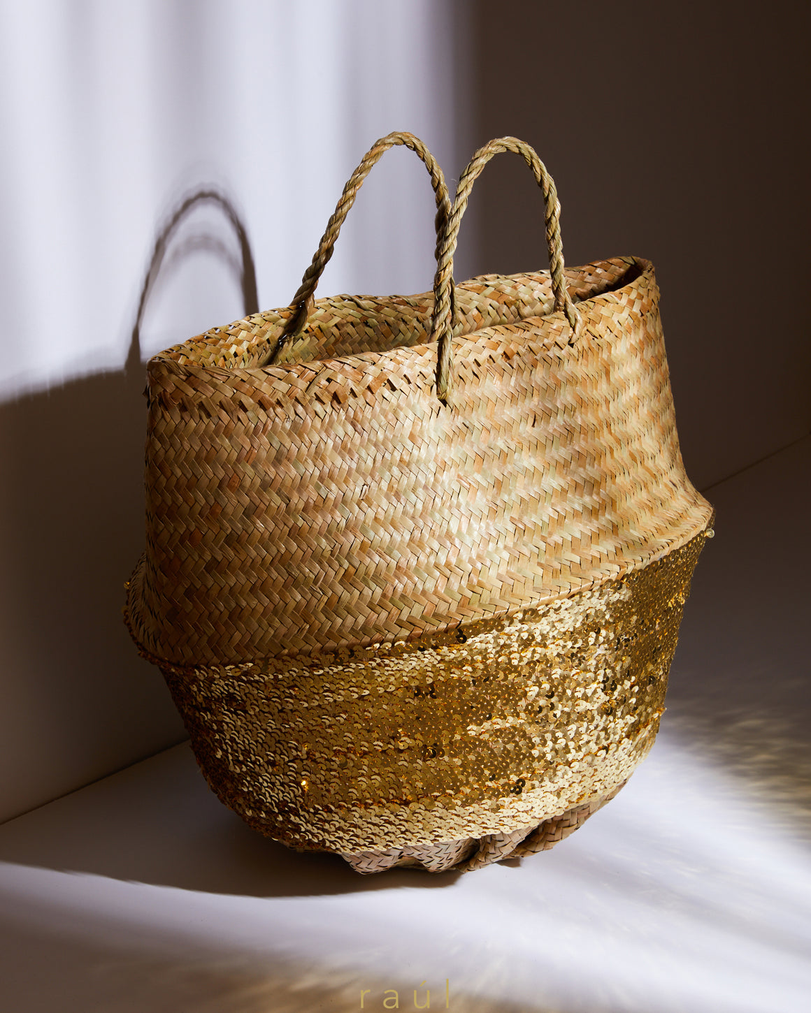 Sequin Basket Gold