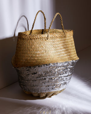 Sequin Basket Silver