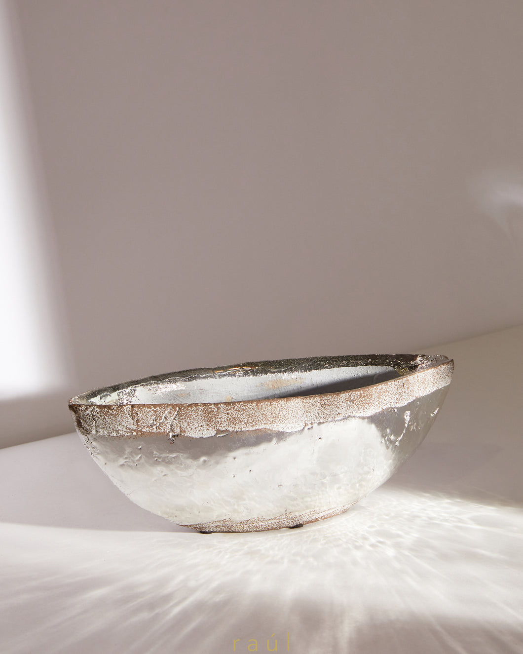 Textured Rim Silver Bowl Small
