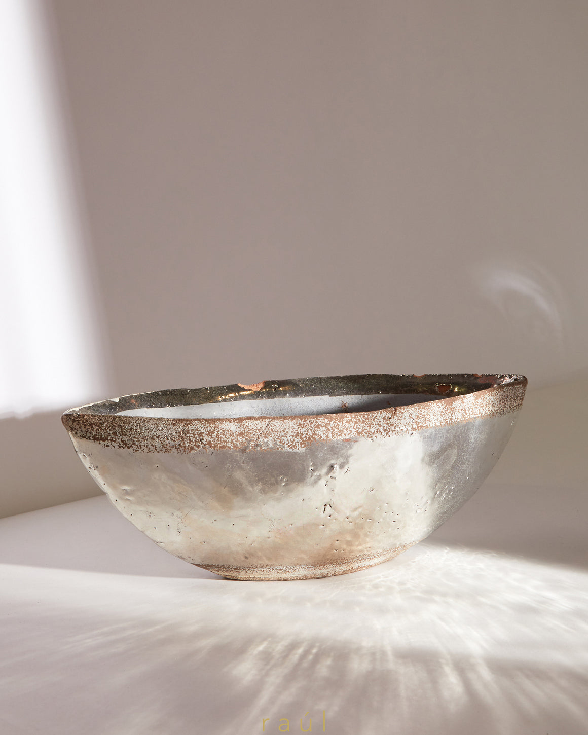 Textured Rim Silver Bowl Large