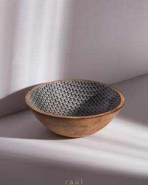 Floral Wooden Bowl Large
