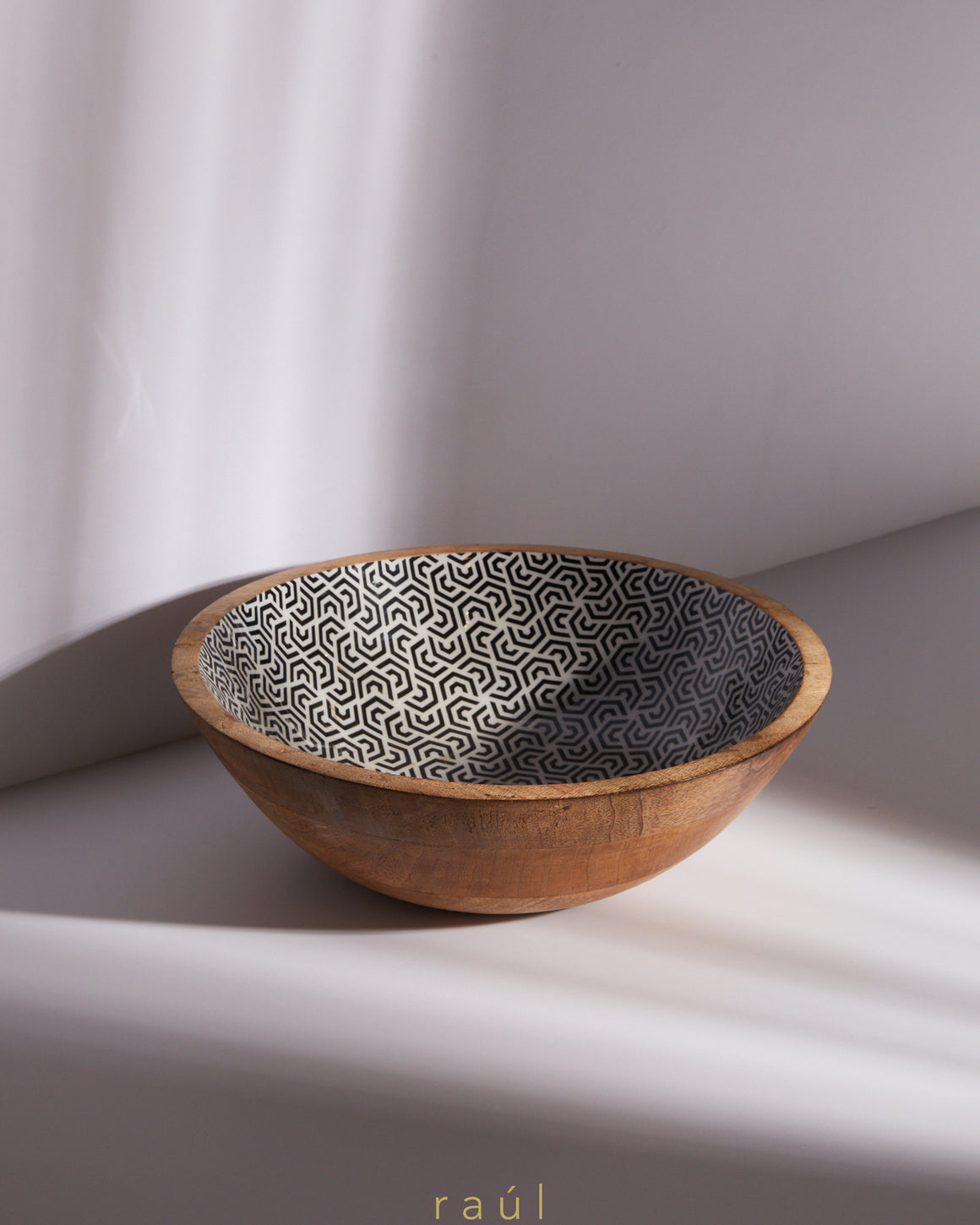 Geometric Wooden Bowl Large