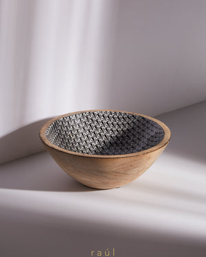 Floral Wooden Bowl Medium