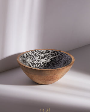 Geometric Wooden Bowl Medium
