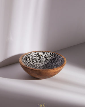 Geometric Wooden Bowl Small