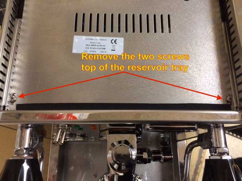 removing the top reservoir tray from the top of your quick mill espresso machine