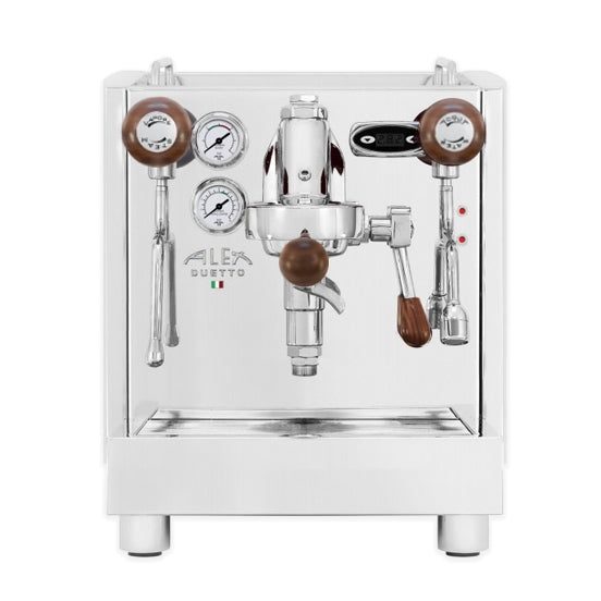 Alex Duetto iv plus home espresso machine with wooden knobs