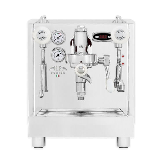 Alex Duetto iv plus home espresso machine with white knobs