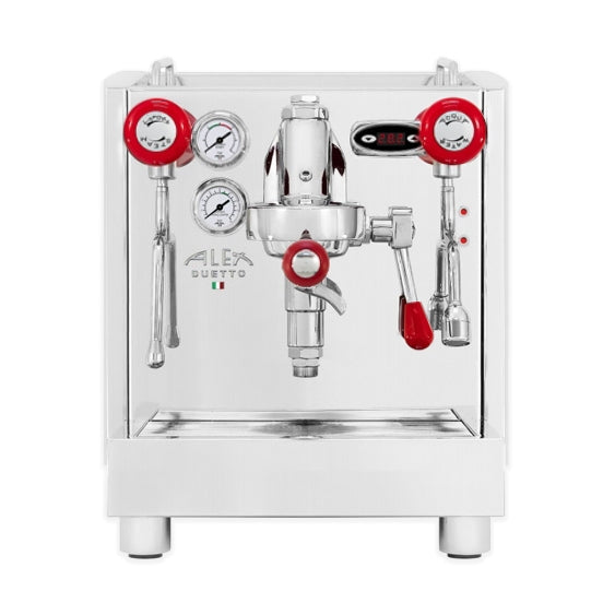 Alex Duetto iv plus home espresso machine with red knobs