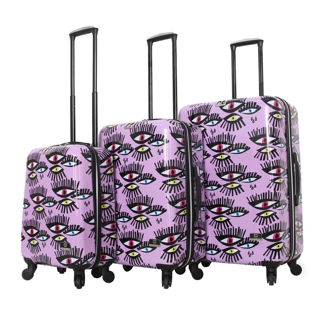 Halina Bouffants & Broken Hearts BOLD EYES 3 Piece Luggage Set-HALINA - Made with Love