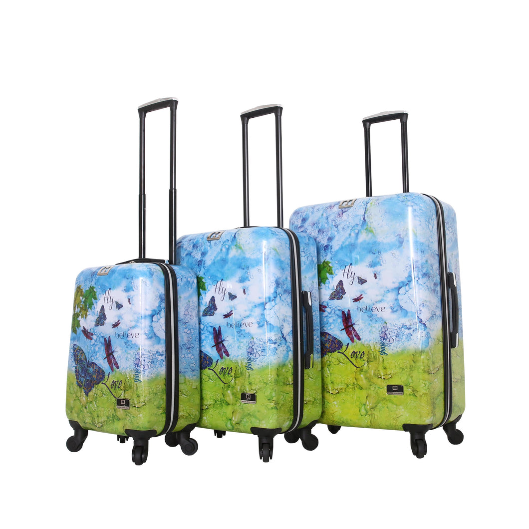 Halina Bee Sturgis FLY DREAM 3 Piece Butterfly Luggage Set-HALINA - Made with Love