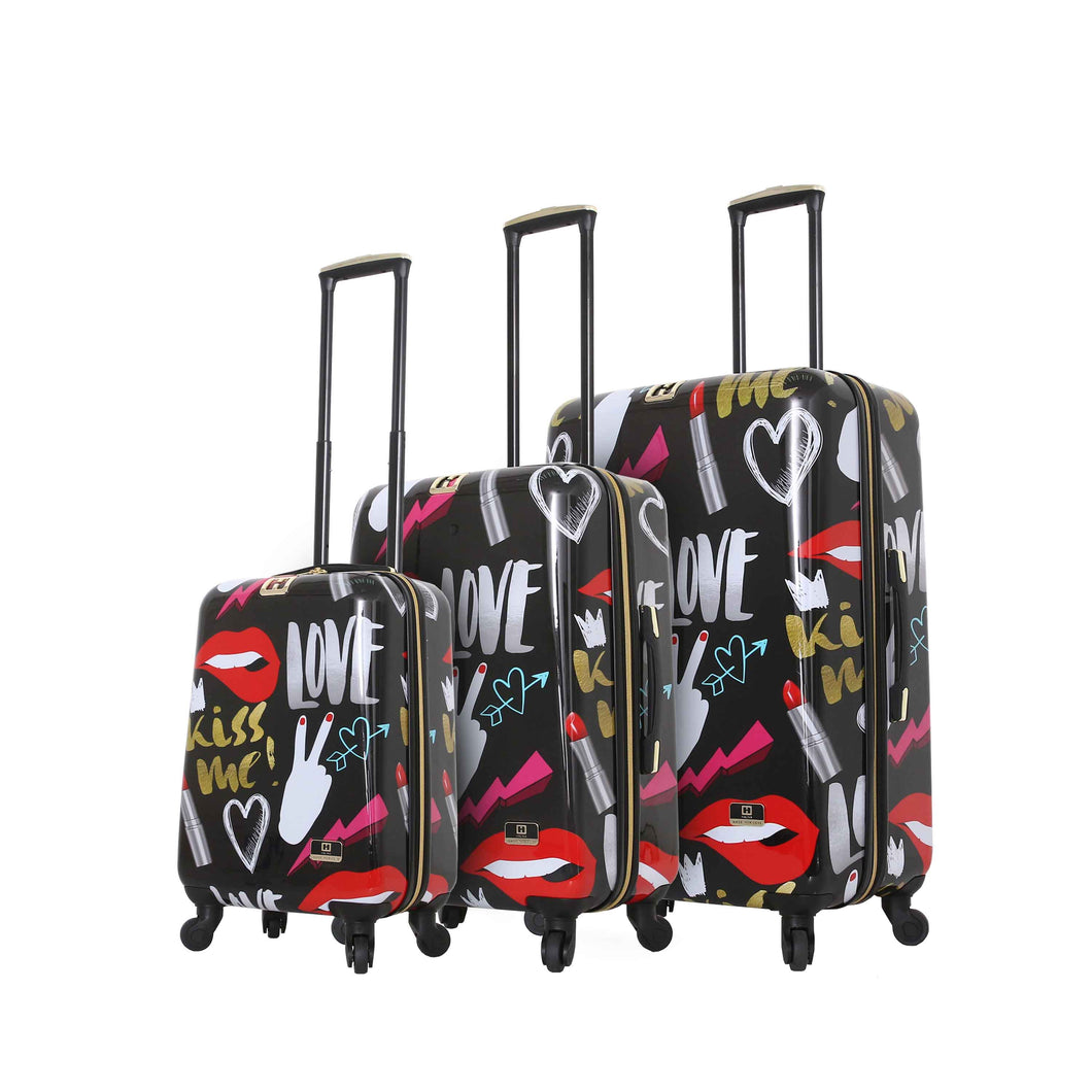 Halina Nikki Chu KISS ME 3 Piece Cute Luggage Set-HALINA - Made with Love