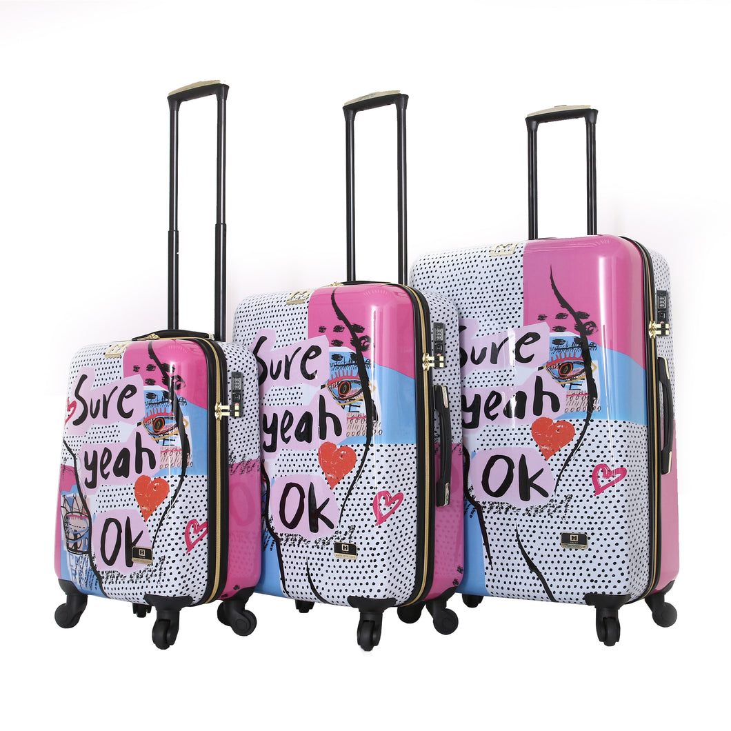Halina Nikki Chu SURE 3 Piece Cute Luggage Set (Lock Version)-HALINA - Made with Love